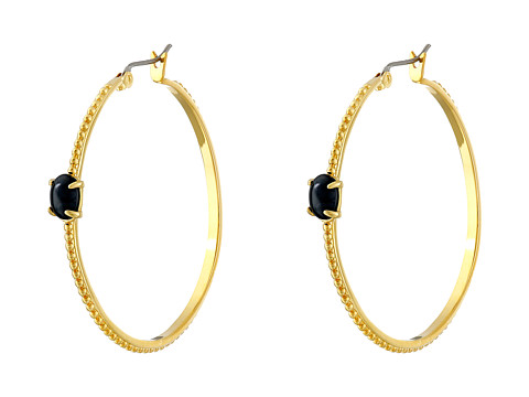 Vince Camuto - Hoop Earrings with Stone Accent (Gold/Black) Earring