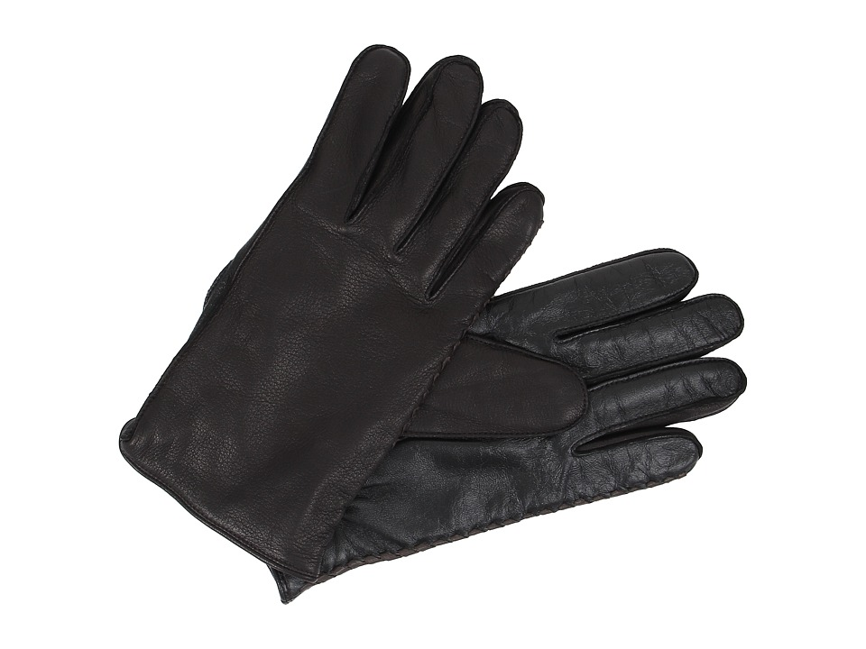 UGG - Darin Side Whip Tech Leather Gloves (Black) Wool Gloves