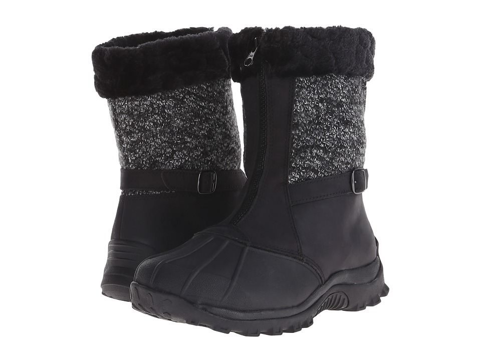 Propet - Blizzard Mid Zip (Black/Black Knit) Women