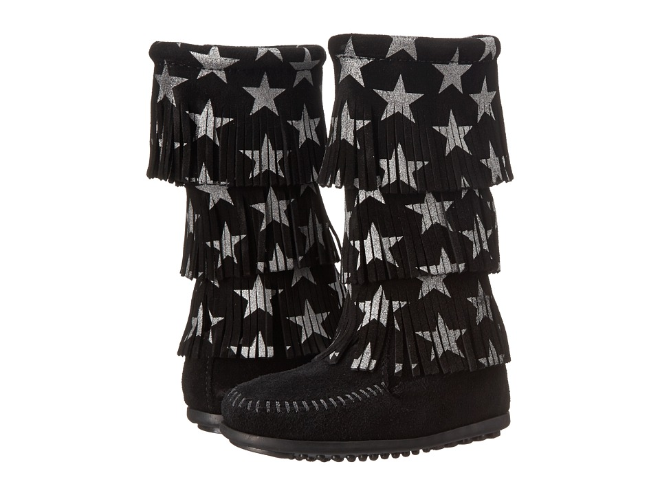 Minnetonka Kids - Star 3 Layer Boot (Toddler/Little Kid/Big Kid) (Black) Girls Shoes