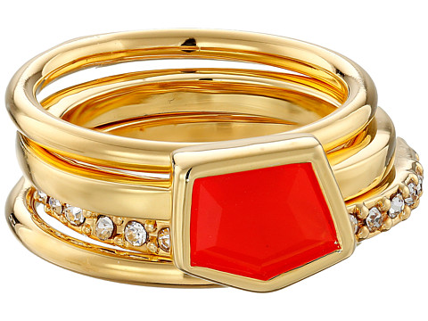 Vince Camuto - Mixed Stone Stack Ring Set (Gold/Neon Coral/Crystal) Ring
