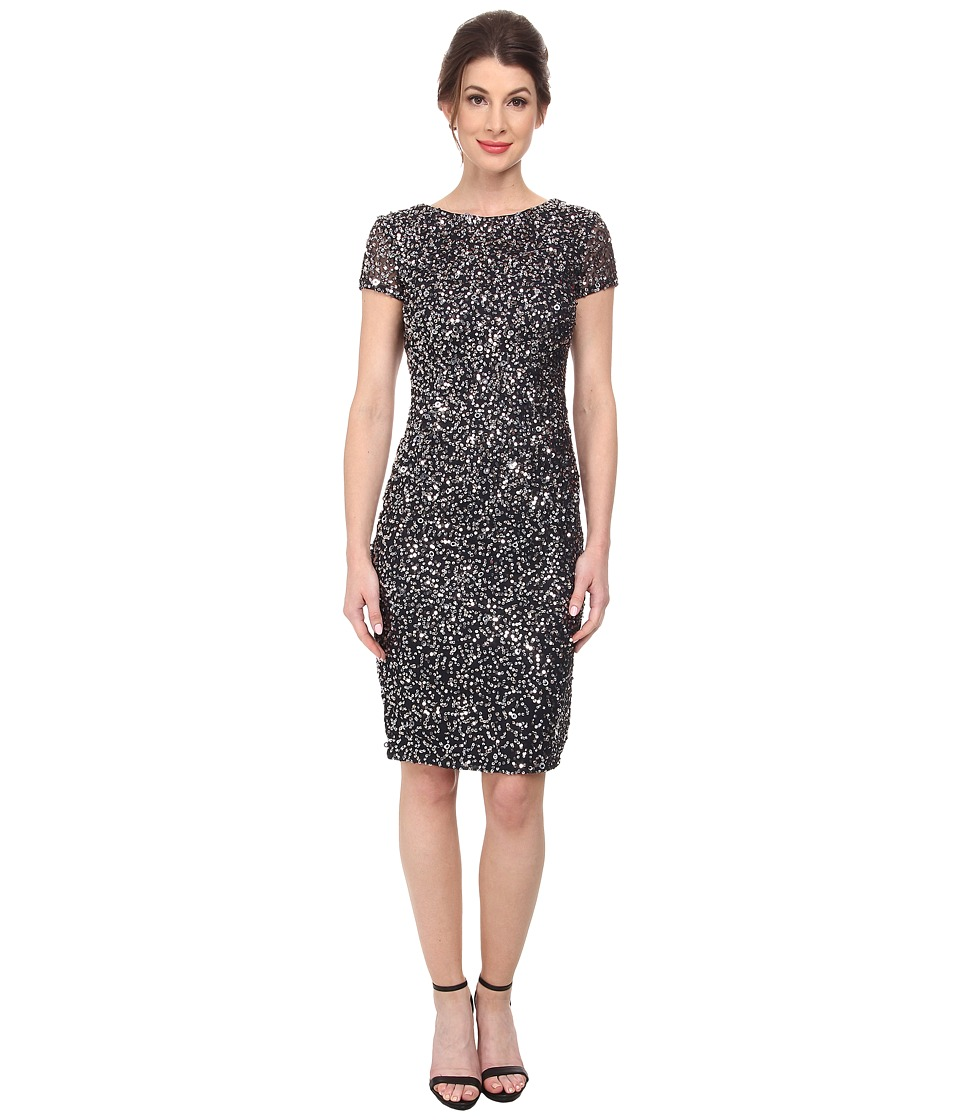 Adrianna Papell - Short Beaded Cap Sleeve Dress (Charcoal) Women's Dress