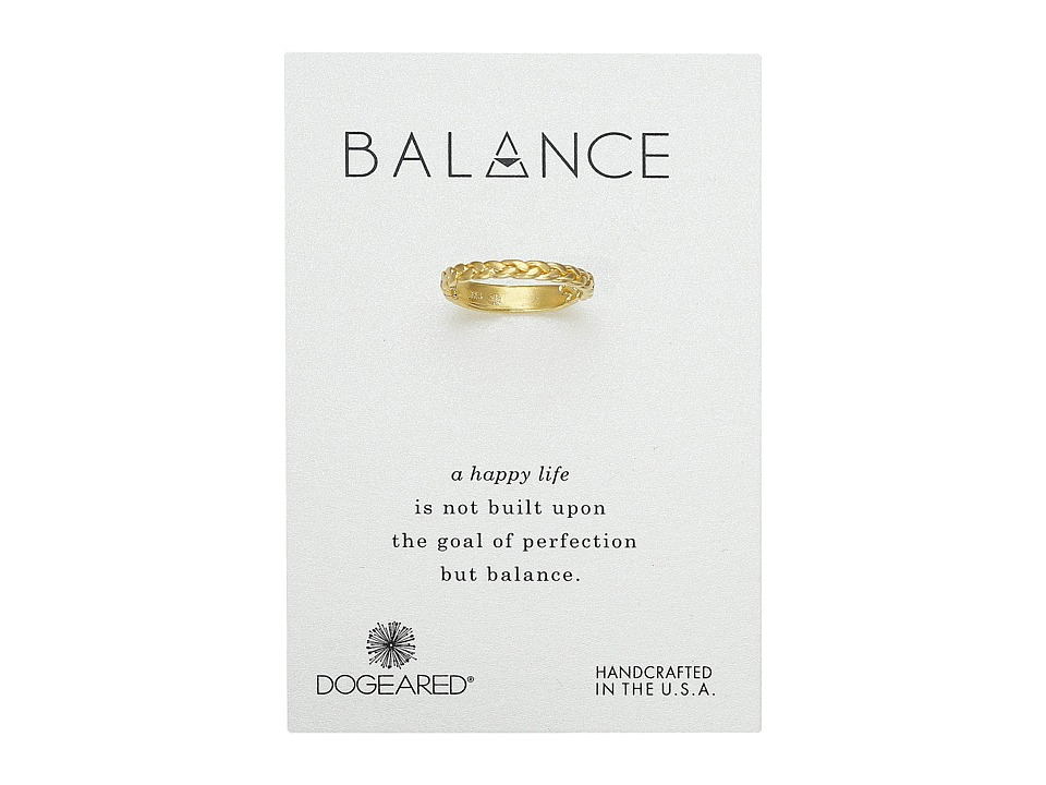 Dogeared - Balance Braided Bar Ring (Gold Dipped) Ring