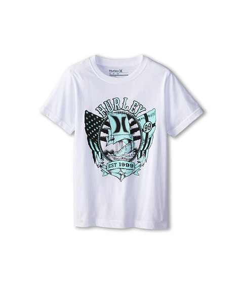Hurley Kids - Deadly Seas Tee (Big Kids) (White) Boy's Short Sleeve Pullover