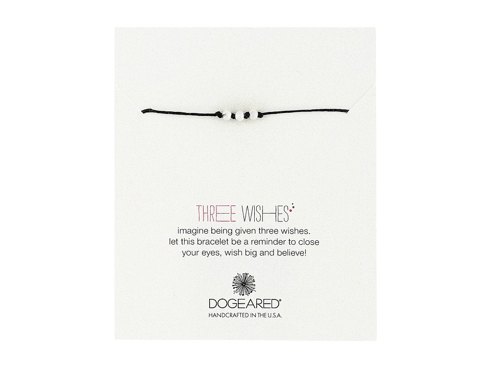 Dogeared - Three Wishes Stardust Bead Bracelet (Black/Sterling Silver) Bracelet