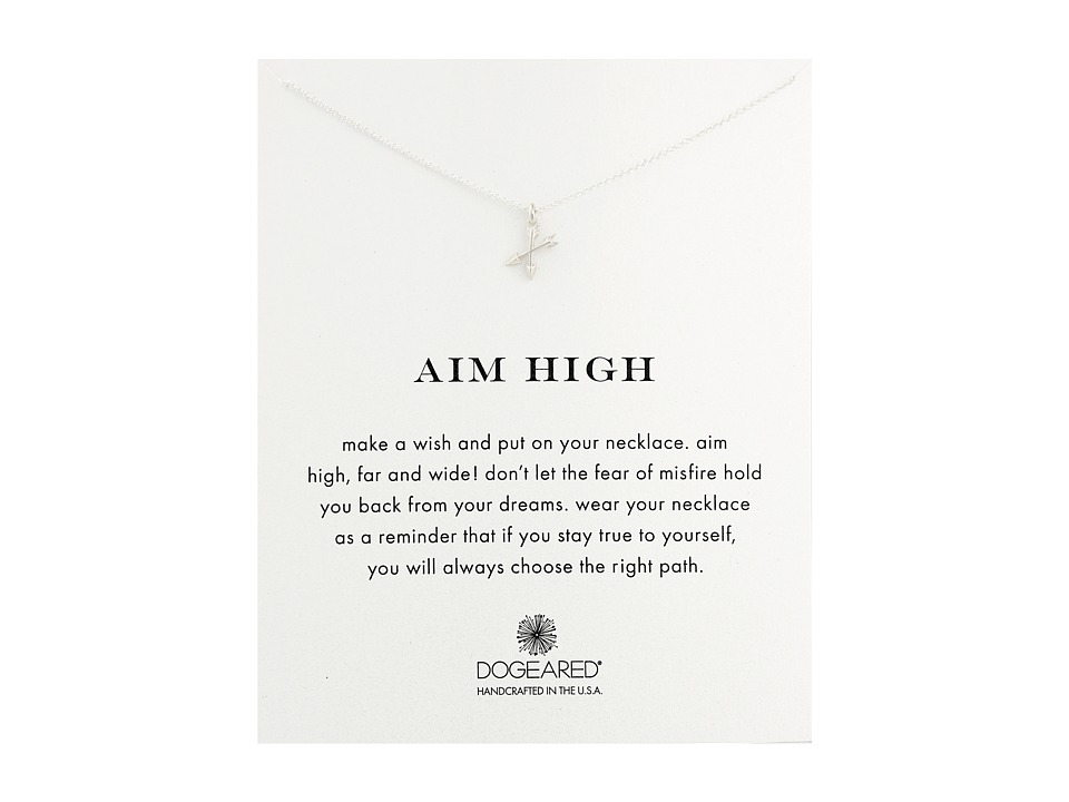 Dogeared - Aim High Crossing Arrows Necklace (Sterling Silver) Necklace