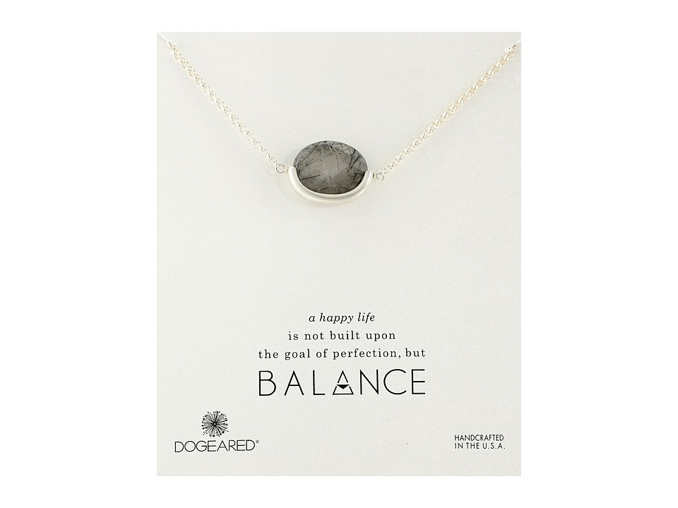 Dogeared - Balance Tourmalinated Quartz Half Bezel Necklace (Sterling Silver) Necklace