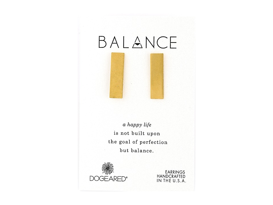 Dogeared - Balance Wide Bar Stud Earrings (Gold Dipped) Earring