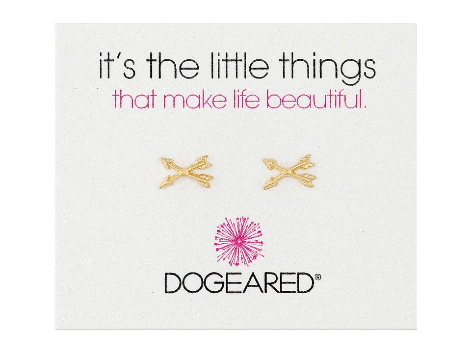 Dogeared - It's The Little Things Crossing Arrows Earrings (Gold Dipped) Earring