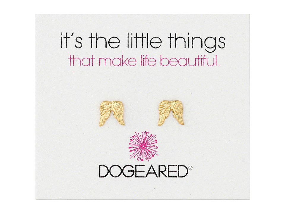 Dogeared - It's The Little Things Teeny Angel Wings Earrings (Gold Dipped) Earring