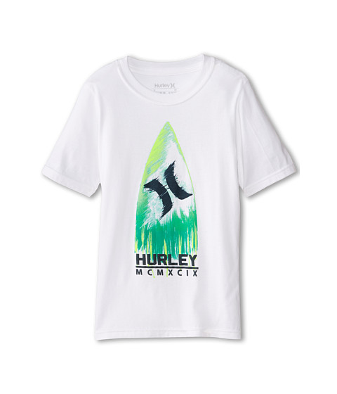 Hurley Kids - Shark Board Short Sleeve Tee (Big Kids) (White) Boy