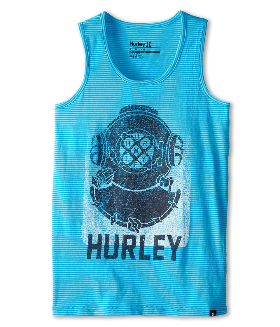 Hurley Kids - Stripe Hype Tank Top (Big Kids) (Blue Lagoon) Boy's Sleeveless