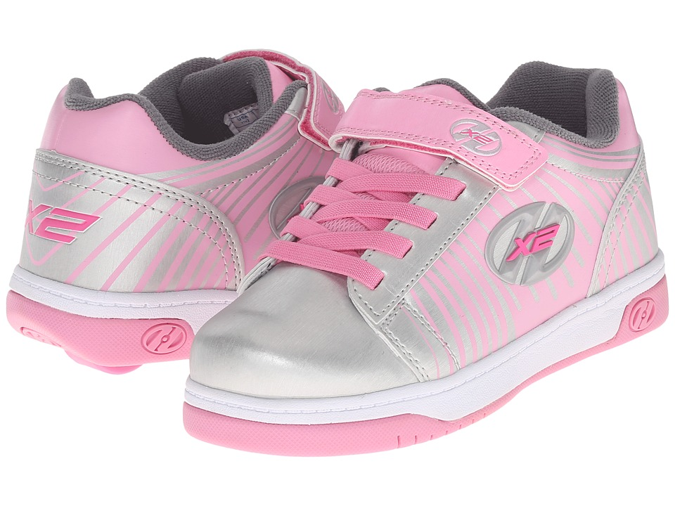 Heelys - Dual Up x2 (Little Kid/Big Kid/Adult) (Silver/Pink/Striped) Girls Shoes