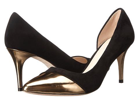 Cole Haan - Highline Cap Toe Pump (Black Suede/Gold Specchio) Women's Slip-on Dress Shoes