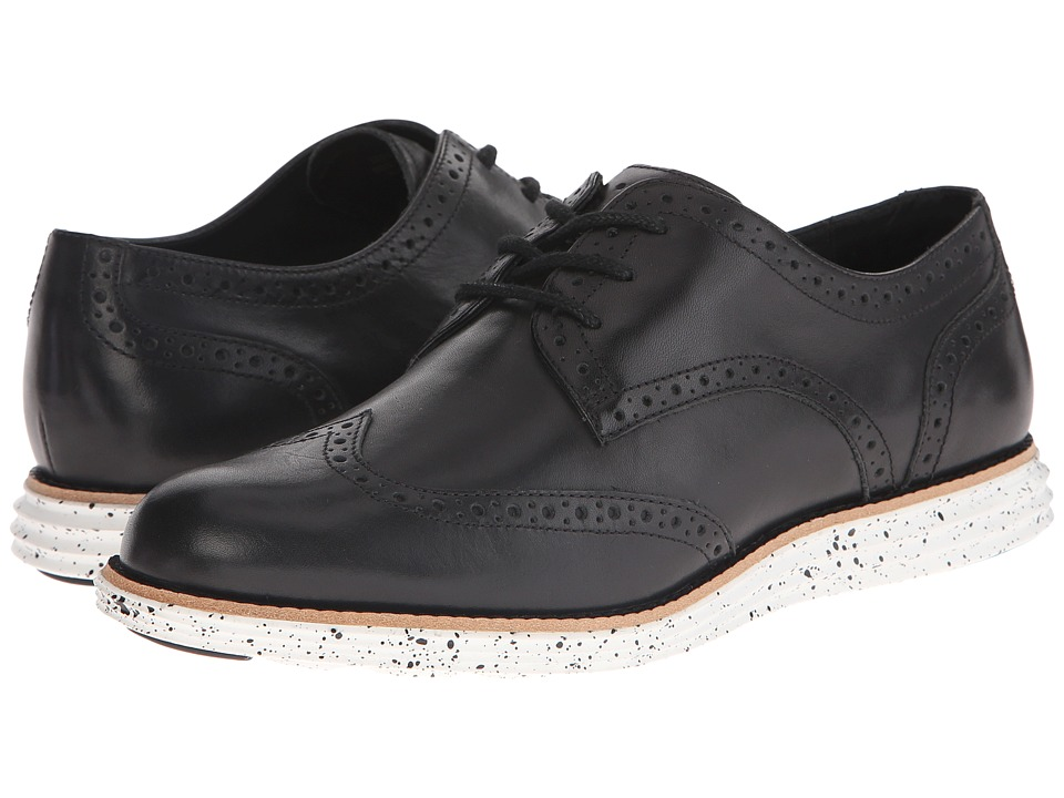 Cole Haan - LunarGrand Wing Tip (Black/Optic White Splatter) Women's Lace Up Wing Tip Shoes