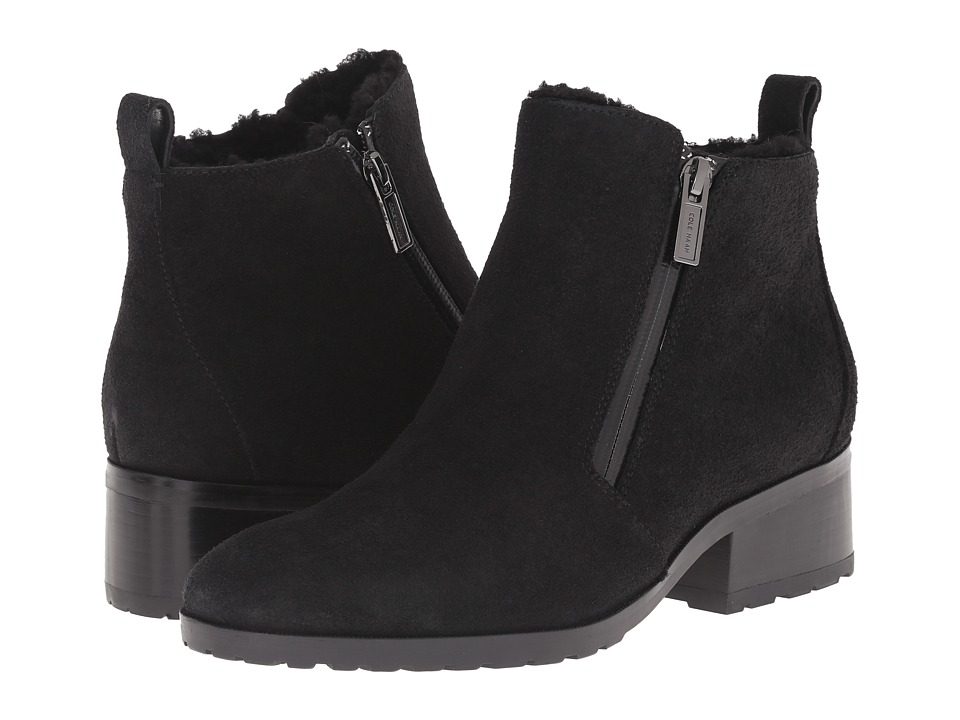 Cole Haan Oak Waterproof Shearling Bootie (Black Suede/Shearling) Women