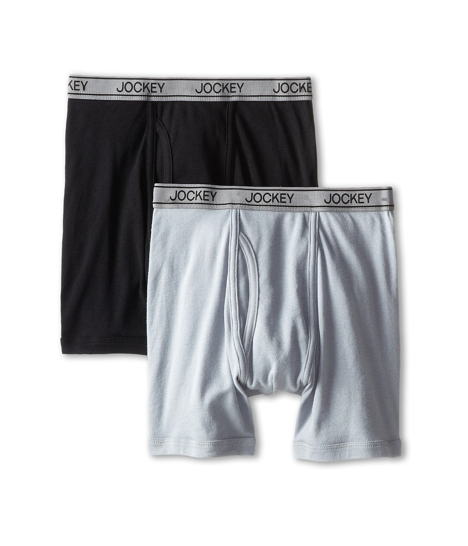 Jockey Kids - Cotton Performance Boxer Brief 2-Pack (Little Kids/Big Kids) (Black/Grey) Boy's Underwear