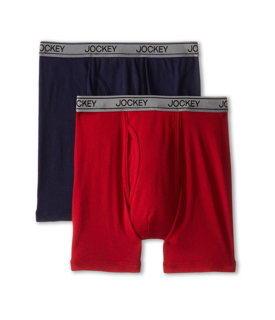 Jockey Kids - Cotton Performance Boxer Brief 2-Pack (Little Kids/Big Kids) (Red/Indigo) Boy's Underwear