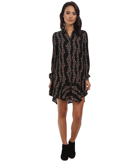 Free People - Button Down Shirtdress (Black Combo) Women's Dress
