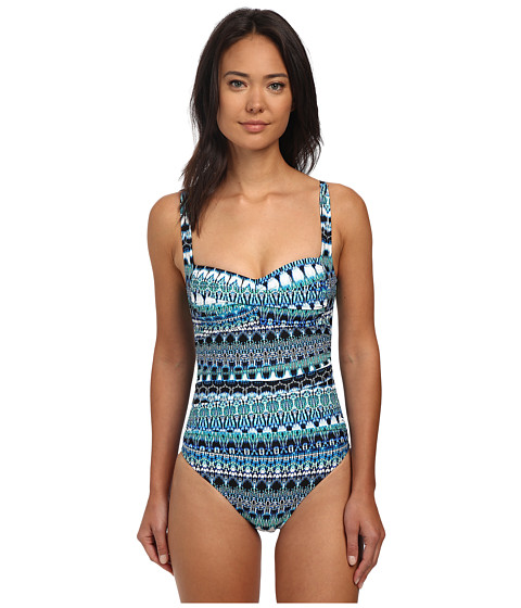 La Blanca - Majorca Over The Shoulder Sweetheart Mio (Blue) Women's Swimsuits One Piece