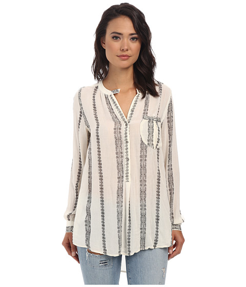 Free People - Printed Rayon Shibori Magic Printed Pullover (Vanilla Combo) Women's Long Sleeve Pullover