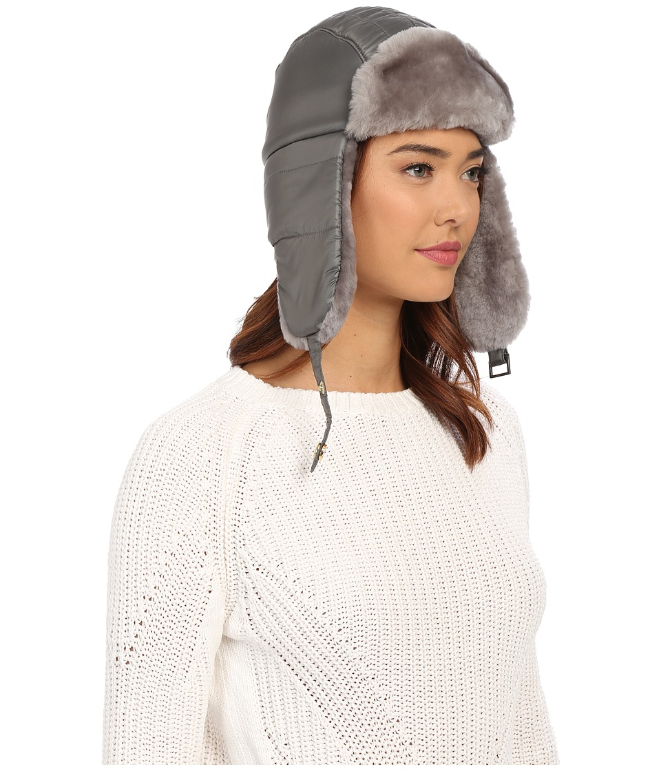 UGG - Lorien Trapper w/ Shearling Trim (Grey Multi) Cold Weather Hats