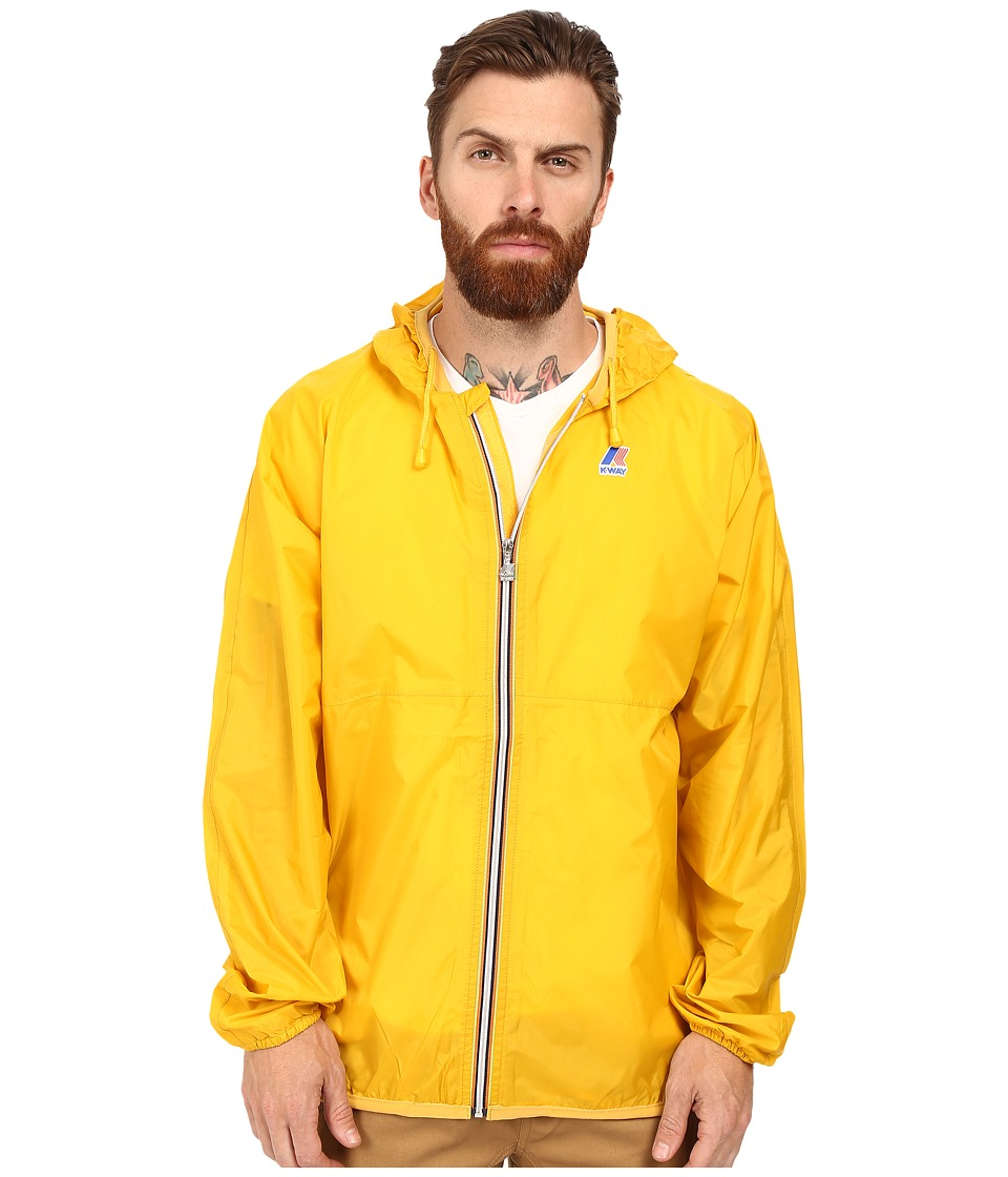 K-WAY - Claude Klassic Waterproof Jacket w/ Hood (Yellow) Men's Coat