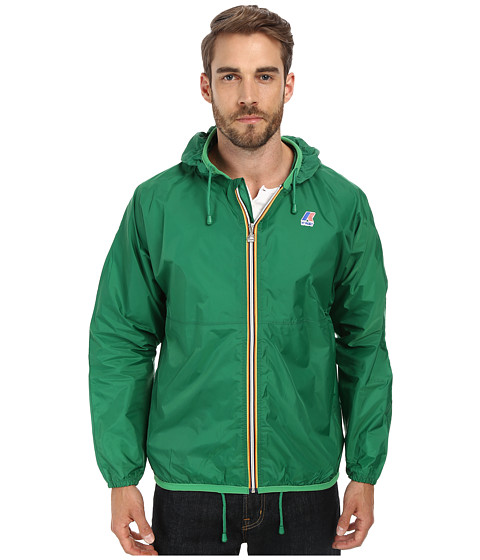 K-WAY - Claude Klassic Waterproof Jacket w/ Hood (Green) Men's Coat