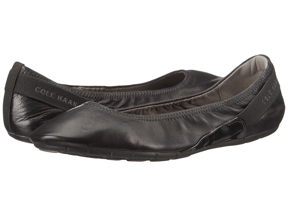 Cole Haan - Zerogrand Stage Door Ballet (Black/Black Patent) Women's Slip on Shoes