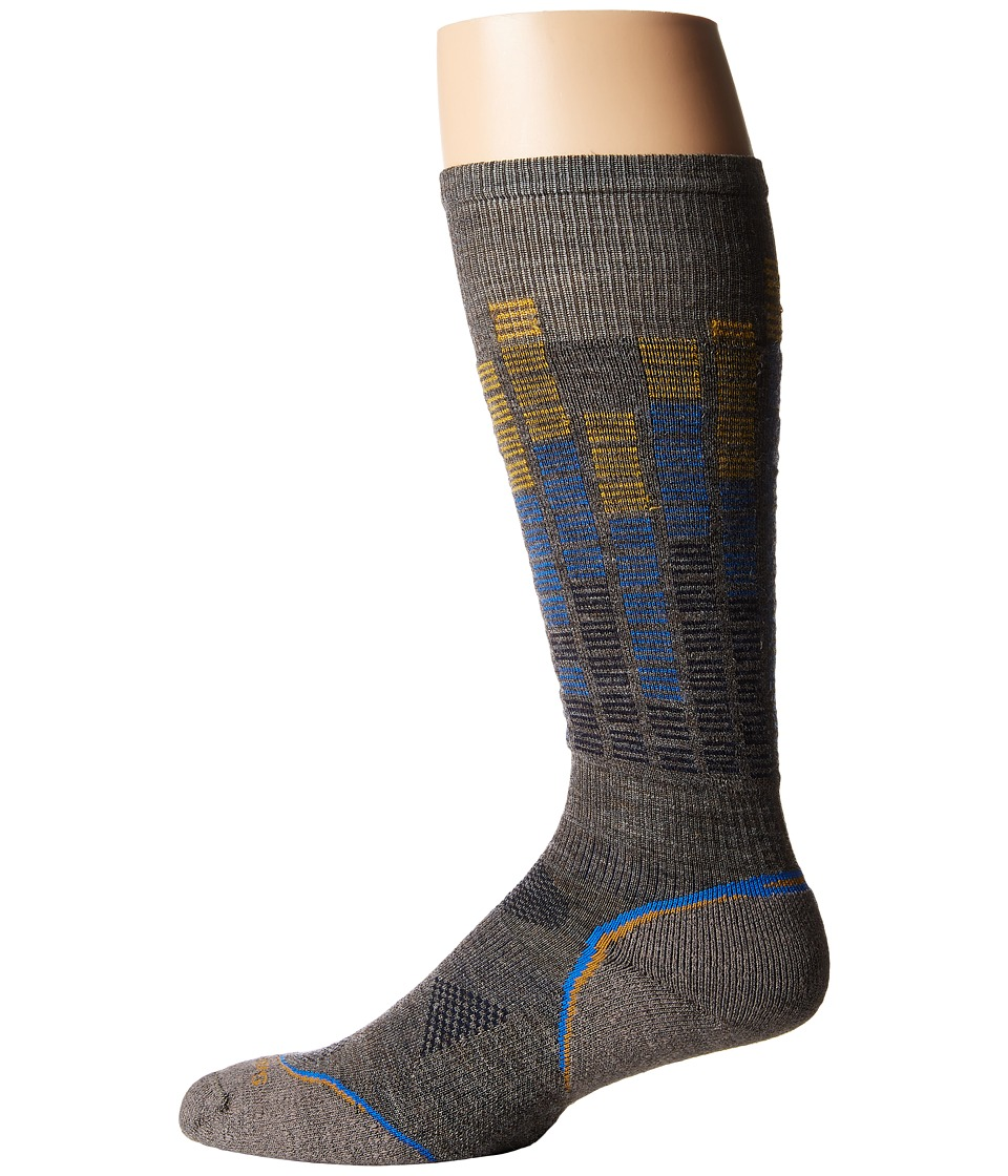 Smartwool - PhD Snowboard Light Pattern (Taupe/Navy) Men's Crew Cut Socks Shoes