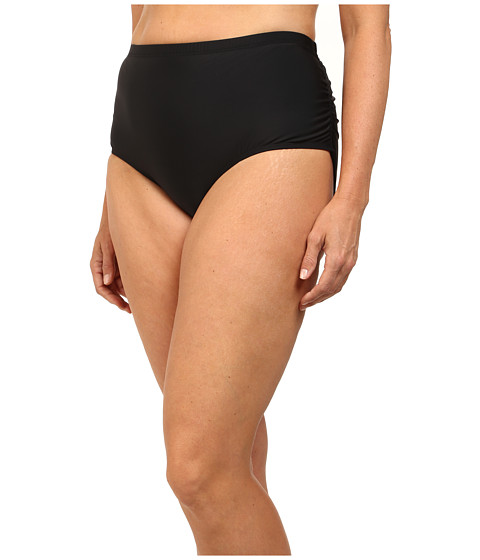 Athena - Plus Size Finesse Shirr Side Bottoms (Black) Women's Swimwear