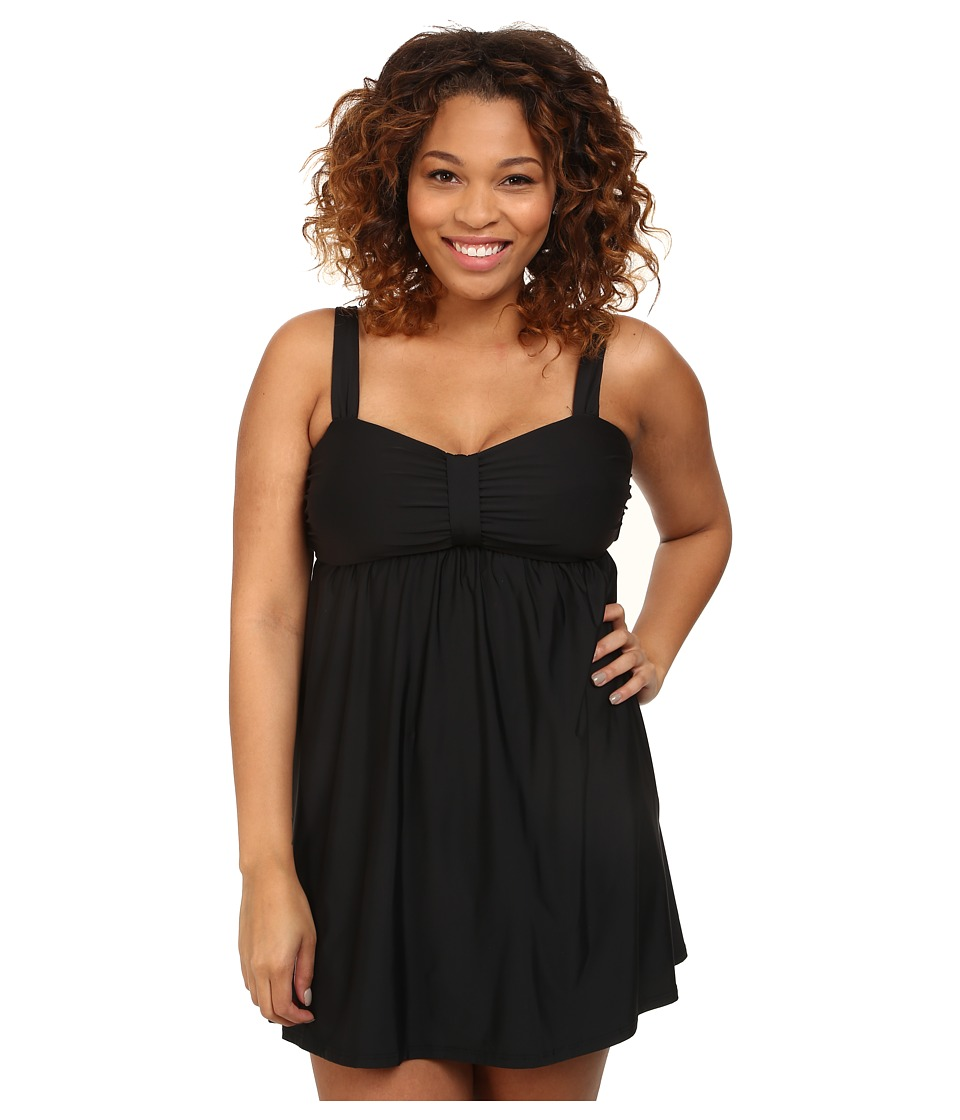 Athena Plus Size Finesse Underwire Swim Dress One-Piece (Black) Women