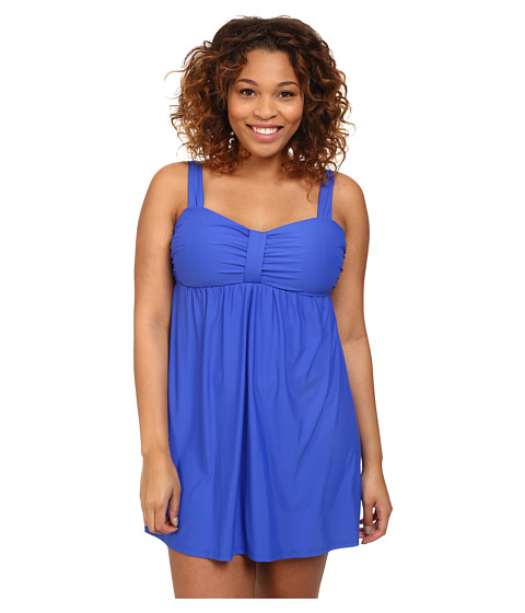 Athena - Plus Size Finesse Underwire Swim Dress One-Piece (Blue) Women