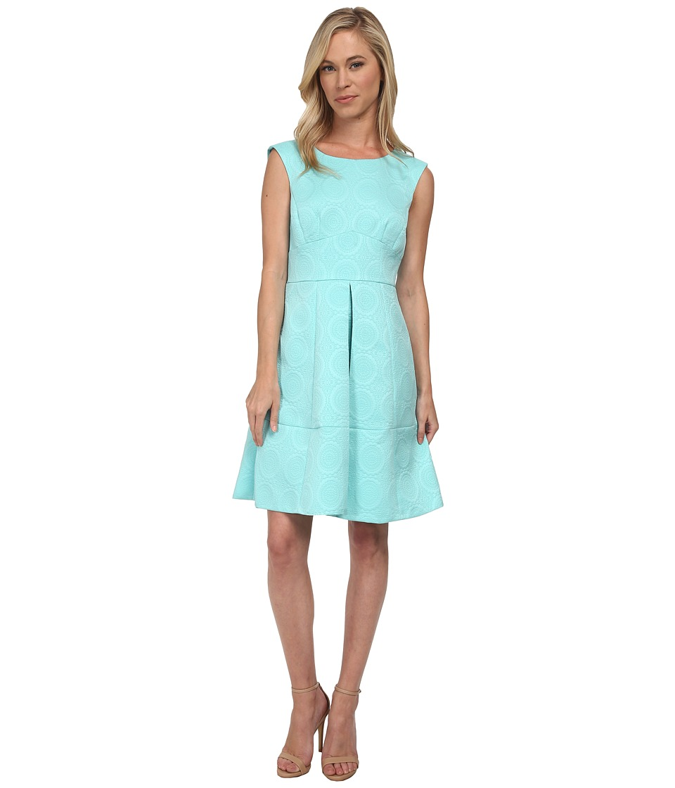 Tahari by ASL Petite - Petite Fit and Flare Novelty Jacquard Dress (Seaglass) Women