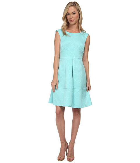 Tahari by ASL Petite - Petite Fit and Flare Novelty Jacquard Dress (Seaglass) Women's Dress