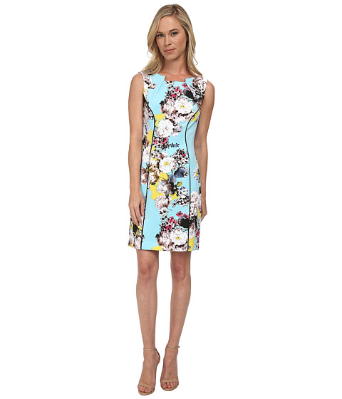 Tahari by ASL Petite - Petite Scuba Printed Sheath Dress (Sky Blue/White/Pink) Women
