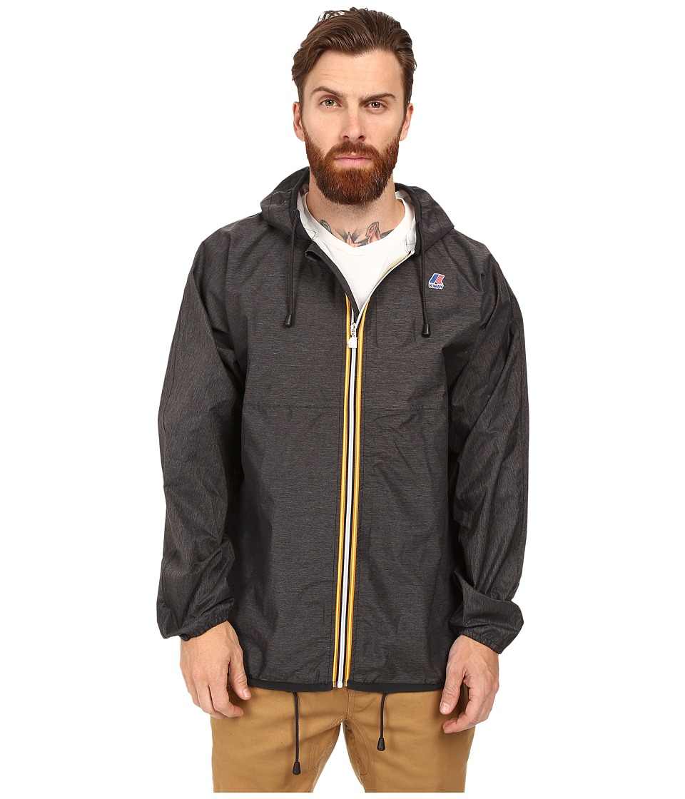 K-WAY - Claude Waterproof Heathered Jacket w/ Hood (Heather Black) Men's Coat