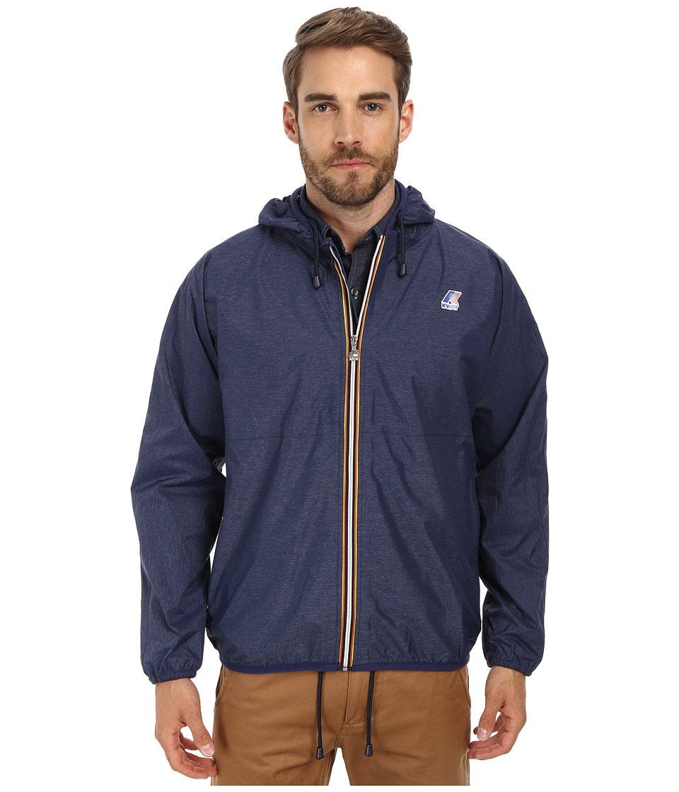 K-WAY - Claude Waterproof Heathered Jacket w/ Hood (Heather Navy) Men's Coat
