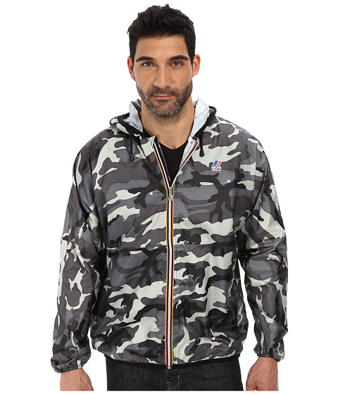 K-WAY - Claude Klassic Waterproof Print Jacket w/ Hood (Camo Grey) Men's Coat