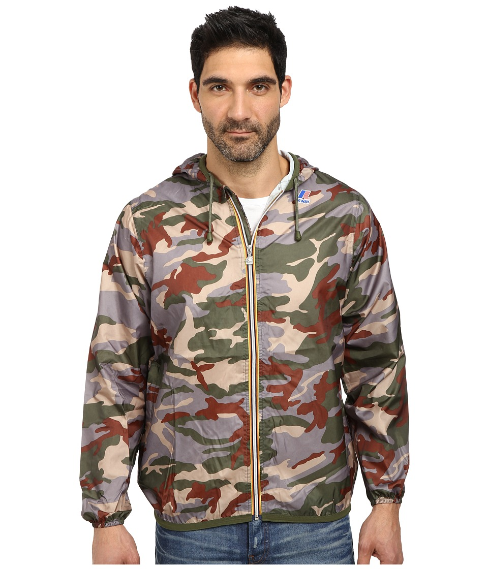 K-WAY - Claude Klassic Waterproof Print Jacket w/ Hood (Green Camo) Men's Coat