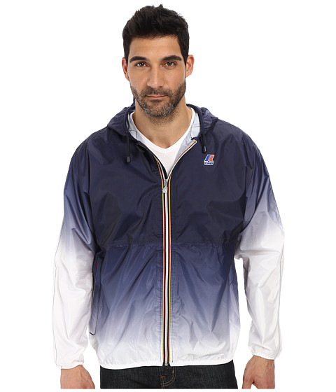 K-WAY - Claude Waterproof Faded Ombre Jacket w/ Hood (Navy/White) Men's Coat