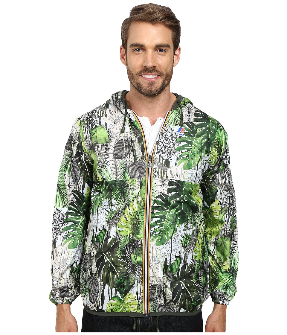 K-WAY - Waterproof Christian Lacroix Reversible Jacket w/ Hood (Tropical Green) Men's Coat