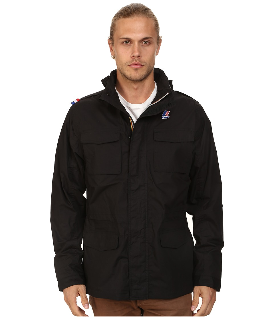K-WAY - Manfield Waterproof Cotton Plus Jacket w/ Flex Hood (Black) Men's Coat