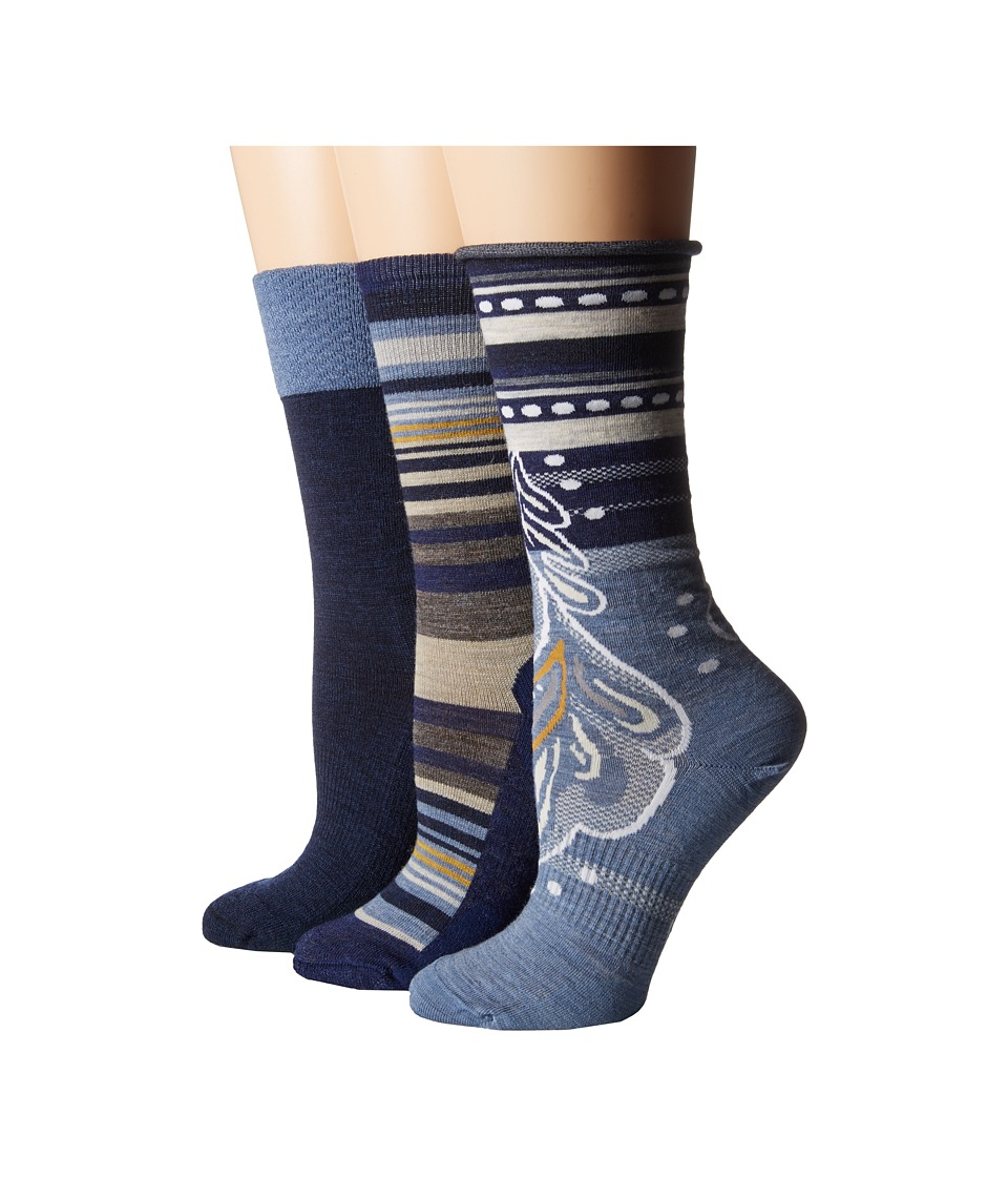 Smartwool - Trio 3 (Ink Heather) Women's Crew Cut Socks Shoes