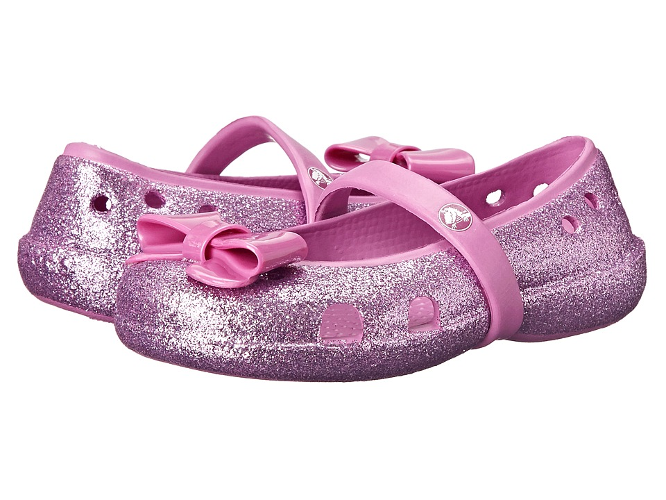 Crocs Kids - Keeley Flat Bow Charm Hi Glitter (Toddler/Little Kid) (Wild Orchard/Wild Orchard) Girls Shoes
