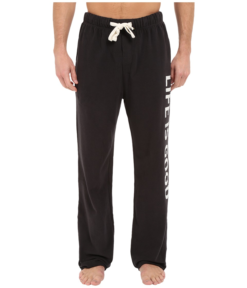 Life is good - Fleece Lounge Pants (Night Black) Men's Casual Pants