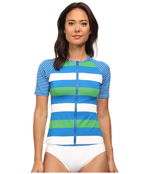 Tommy Bahama - Rugby Short Sleeve Rashguard w/ Zipper Cover-Up (Sailor Blue) Women