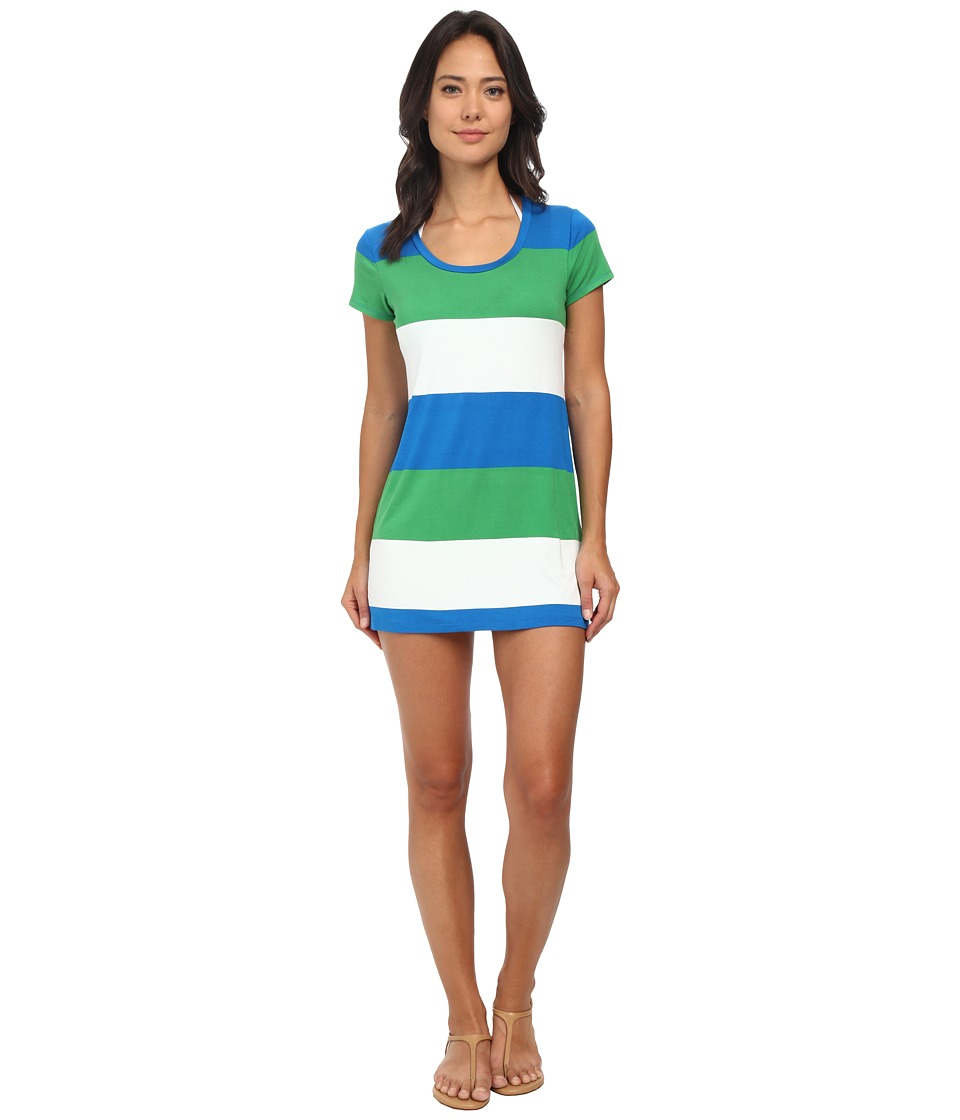 Tommy Bahama - Bold Stripe Short T-Shirt Dress Cover-Up (Sailor Blue) Women's Swimwear