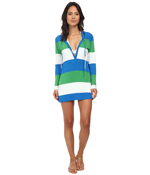 Tommy Bahama - Bold Stripe Hoodie Cover-Up (Sailor Blue) Women