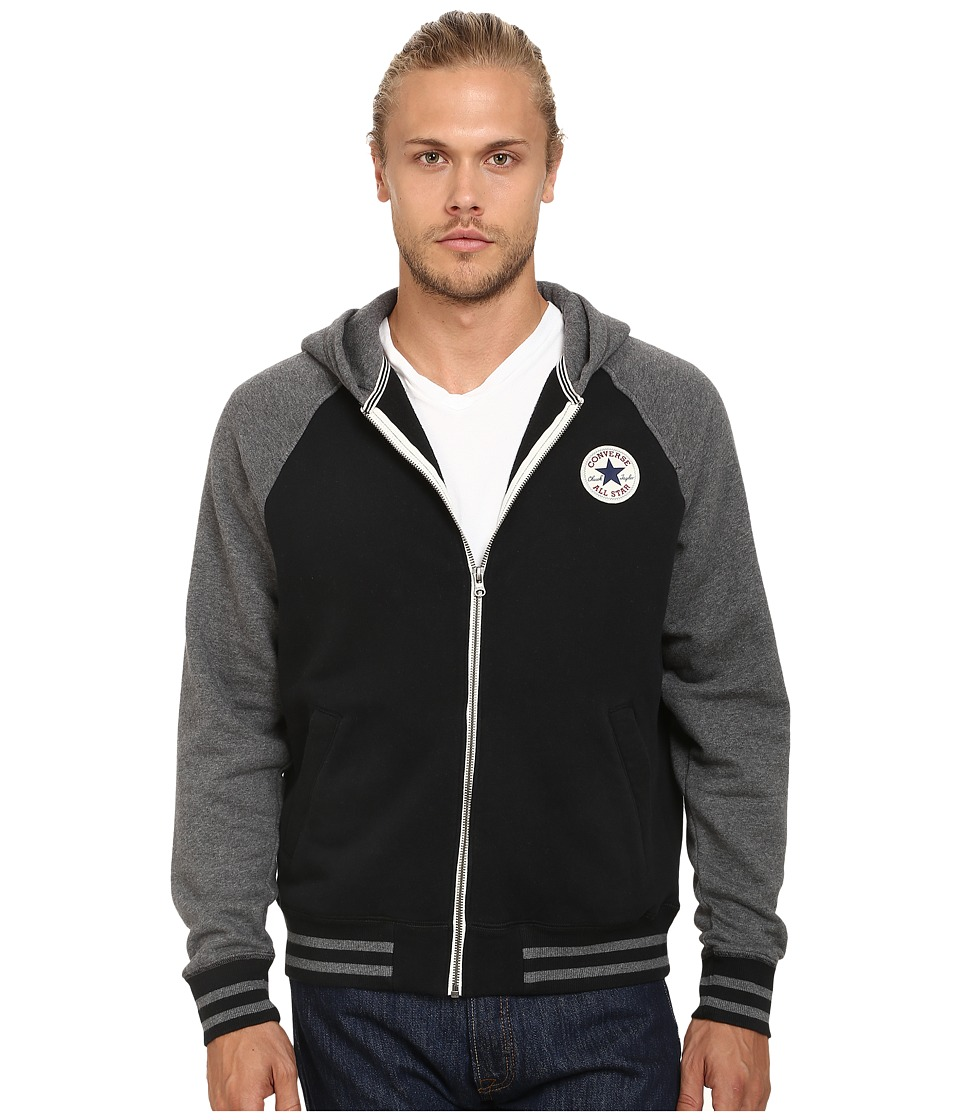 Converse - Patch Hooded Baseball Jacket (Black) Men's Sweater